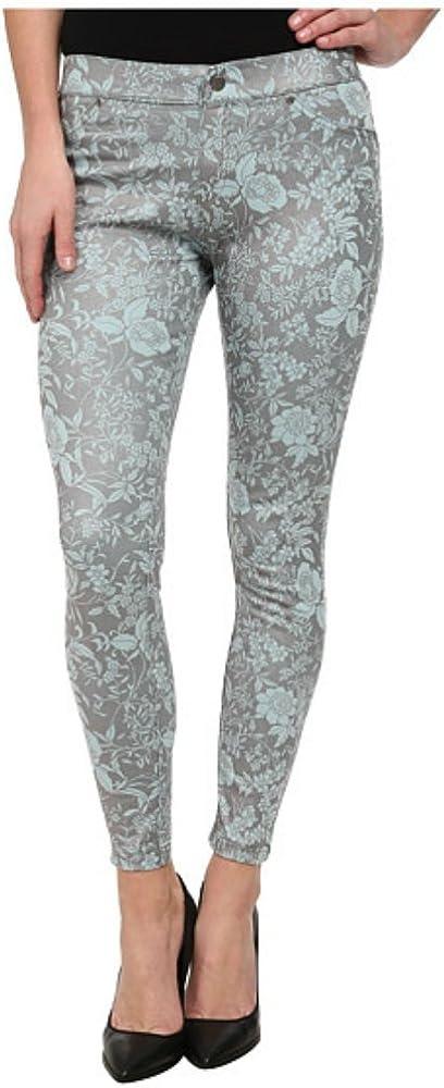 HUE Floral Metallic Super Smooth Denim Skimmer Leggings, Aqua Sky