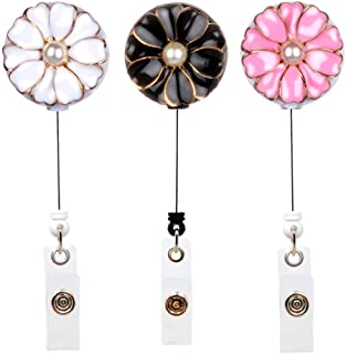 Qinsuee Retractable Badge Holder with Alligator Clip, 24 inch Retractable Cord, ID Badge Reel with Pearl, 3 Pack (Multiple)