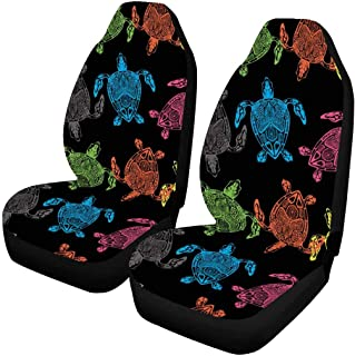 INTERESTPRINT Hand Drawn Pineapple Fruits Front Seat Covers 2 pc,Vehicle Seat Protector Car Mat Covers, Fit Most Vehicle, Cars, Sedan, Truck, SUV, Van