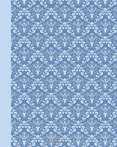 Sketch Journal: Damask (Light Blue) 8x10 - Pages are LINED ON THE BOTTOM THIRD with blank space on top (8x10 Patterns & Designs Sketch Journal)