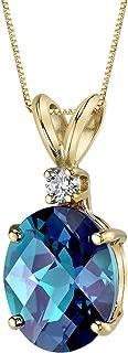 14 Karat Yellow Gold Oval Shape 3.25 Carats Created Alexandrite Diamond Pendant