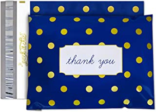 Pack It Chic - 10X13 (100 Pack) Navy Polka Dot - Thank You Poly Mailer Envelope Plastic Custom Mailing & Shipping Bags - Self Seal (More Designs Available)