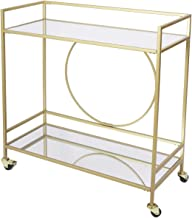 Bar Cart with 2 Mirrored Shelves, Durable Wine Cart with Casters, Suitable for Kitchen, Club, Living Room, Antique Gold Fi...