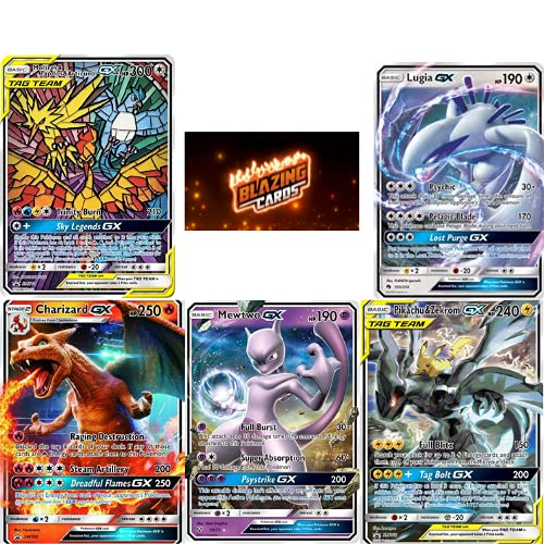 5 Pokemon Cards GX - Real Pokemon Cards - Best Pokemon Packs On The Market- Very Rare Pokemon Cards - Pokemon GX Cards Only - Pokemon TCG - Blazing Cards Sticker!