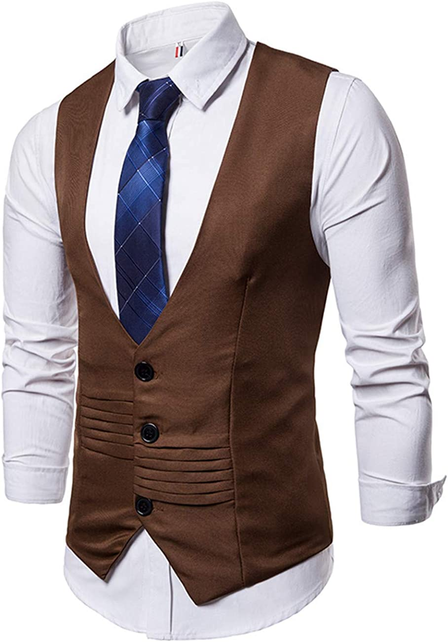 Men's Pure Color Suit Vest Dress Vest Waistcoat for Men Tuxedo Vest