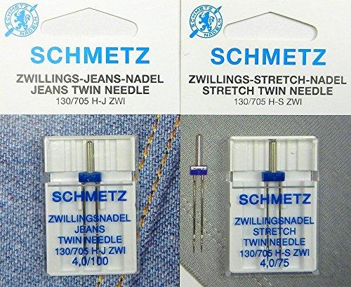 SCHMETZ, ago gemello Stretch per tessuti elasticizzati 4,0/75 mm e ago gemello per jeans...
