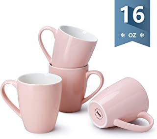Sweese 601.108 Porcelain Mugs - 16 Ounce (Top to the Rim) for Coffee, Tea, Cocoa, Set of 4, Pink