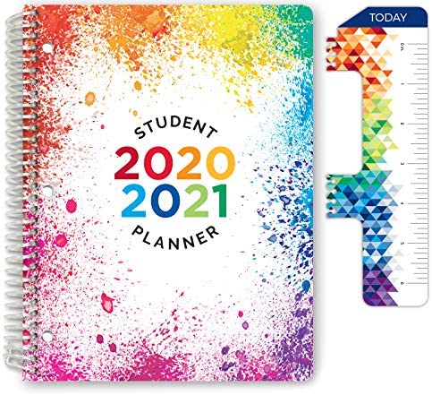 Dated Elementary Student Planner for Academic Year 2020 2021 Block Style 8 5 x11 Paint Splatter product image