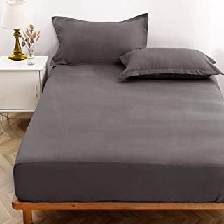 NANKO Queen Fitted Sheet 80x60 Deep Pocket Mattress Gray Grid Geometric Modern Luxury Cool Soft Lightweight Microfiber Bedding Set 2 Pillowcases Grey Plaid 10 11 12 14 15 16 inch