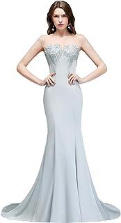 13c00d39e02377 MisShow Damen Elegant Etui Abendkleider für Hochzeit Abiballkleider  Ballkleider mit Stickerei Maxilang