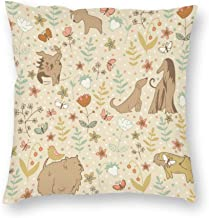 Decorative Pillow Covers Dogs Spring Pattern Throw Pillow Case Cushion Cover Home Decor,Square 20 X 20 Inches