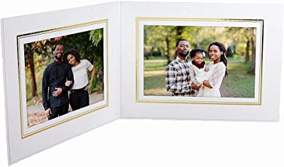 Double View Cardboard Photo Folder White with Gold Foil Border for 6x4 Horizontal (25 Pack