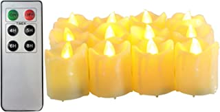 Candle Choice Flameless Candles Votive Candles with Timer (Set of 12) Led Candles with Remote Battery Powered Candles (Melted/Dripping)