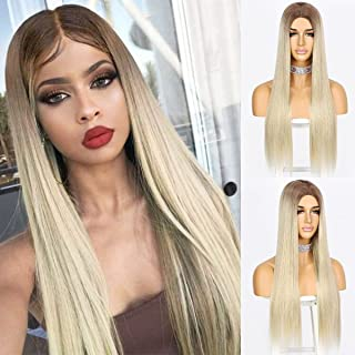 Sapphirewigs Long Straight Ombre Blonde Wigs for Women Synthetic Brown Wig Middle Part Hairline Natural Looking Daily Part...