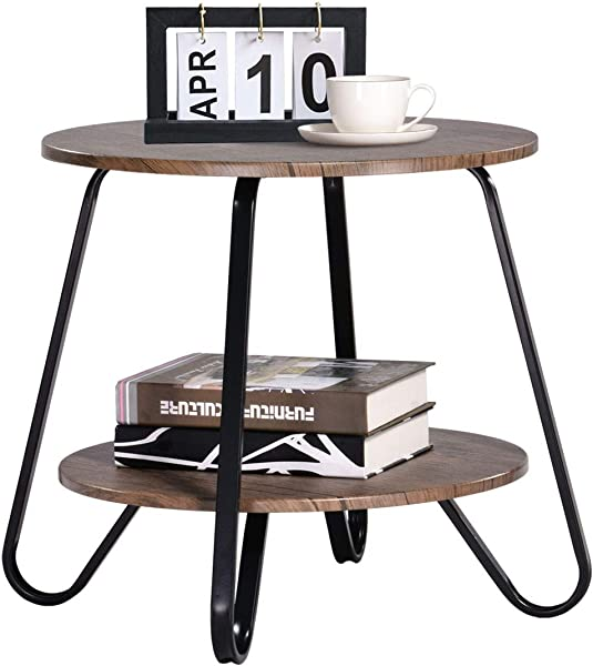 Vintage 2 Tiers Living Room End Table Modern Industrial Nightstands For Bedroom Round Sofa Side Table Wood Metal Walnut