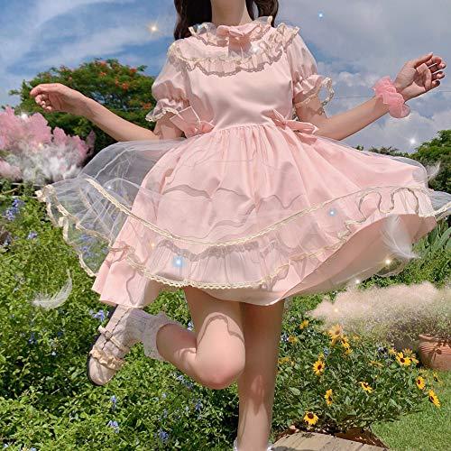 Yuncheng Vestido de la Magdalena de Lolita Vestido Japonés Summer Sweet Soft Firy Mujeres Vestidos Kawaii Puff Manga Vestidos Lindos...