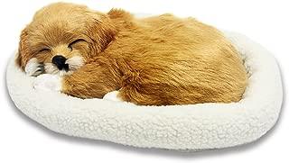 Signstek Emulation Sleeping Breathing Dog Toy Pet with Woolen Bed