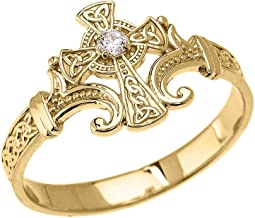 Religious Jewelry by FDJ 14k Yellow Gold Solitaire Diamond Celtic Cross with Trinity Knot Design Elegant Ring