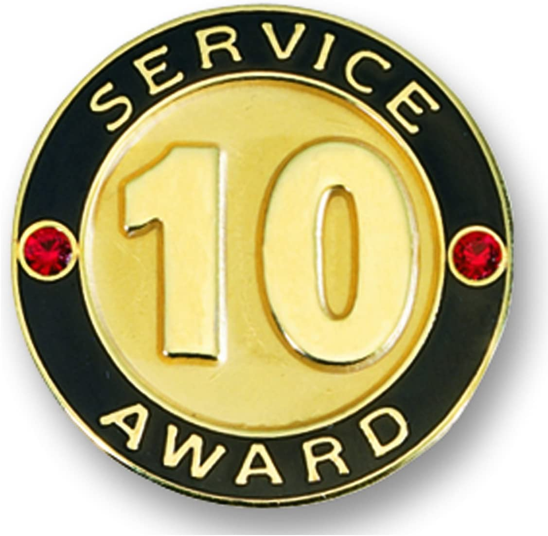 TCDesignerProducts 10 Year Service Gold Award Pin with Red Stones, 6 Pins