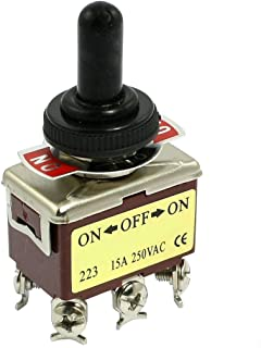 SODIAL(R) AC 250V 15A 6 Pines DPDT Encendido / Apagado / Encendido Mini interruptor de palanca de 3 posiciones