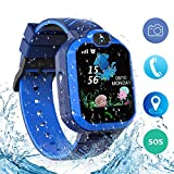 Kids Waterproof Smart Watch Phone, Kids LBS Tracker Watch HD Touch Screen with SOS Call Camera Game Alarm, Christmas Birthday Gifts for 3-12 Year Old Boys Girls(Blue)