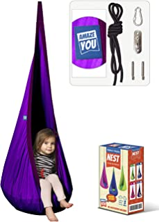 AMAZEYOU Kids Swing Hammock Pod Chair - Child's Rope Hanging Sensory Seat Nest for Indoor and Outdoor Use - Great for Chil...