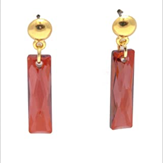 Swarovski Column Earring - Red Magma Rectangle Queen Baguette Crystal, Dome Post, 1-in