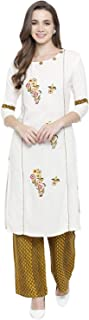 Fabnest Women's Rayon Floral Embroidery Kurta with Palazzo set (Cream)