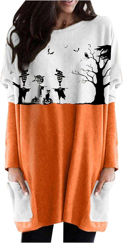 felwors Sweatshirt for Women, Womens Casual Long Sleeve Shirts with Pocket Oversized Halloween Pumpkin Print Tunic Tops