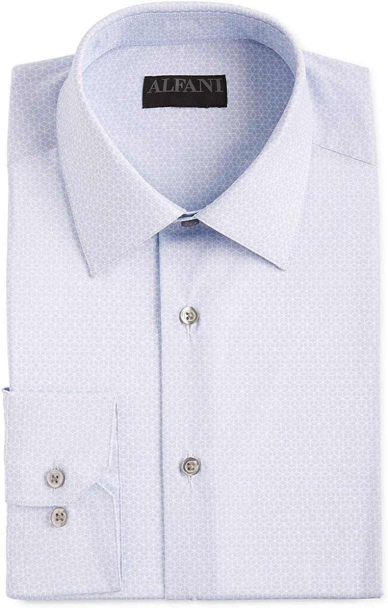 Alfani Mens Dress Shirt Regular-Fit Performance Cube White 15 1/2