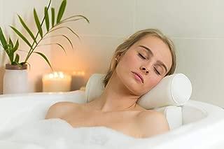 Luxurious 3D Breathable Air Mesh Premium Support Head, Neck, Shoulder, Back Spa Bath Pillow (White)