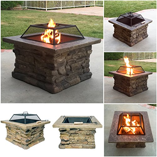 For Sale! Fire Realm Elegant 29 Outdoor Patio Firepit With Bowl, Stone Base, Mesh, Pit