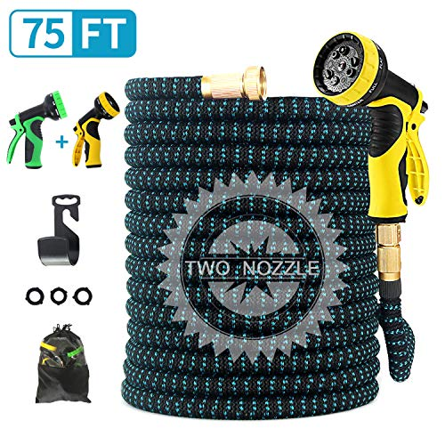 FIENVO 75 ft Upgraded Expandable Durable No-Kink Flexible Garden Water Hose Set with Extra Strength Fabric Triple Layer Latex Core,3/4' Solid Brass Connectors 9 Function Spray Hose Nozzle