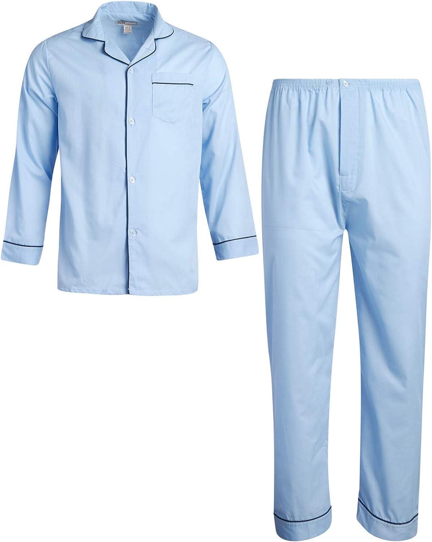 Ten West Apparel Men's Pajamas Set - Long Sleeve Button Down Sleep Shirt and Pajama Bottoms Sleepwear Set