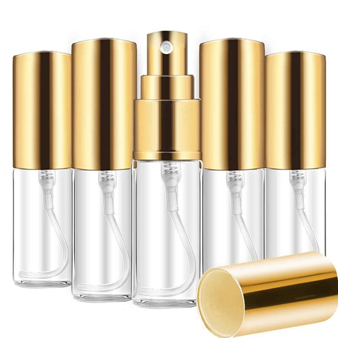 縞模様のフレッシュ配当Aomgsd 香水噴霧器 香水アトマイザー スプレーボトル ガラス 香水詰め替え ミニ 携帯便利 軽量 上品 5ml 5本 (ゴールド)