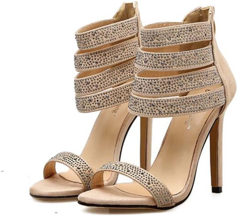 Women Pump 11cm Stiletto Sandals Open Toe D'Orsay Rhinestone Ankel Strap Dress shoes Sexy colormatch Zipper OL Court shoes Roma shoes EU Size 34-40
