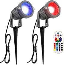 ZUCKEO RGB 6W LED Landscape Lights 12V-24V Waterproof Garden Pathway Lights Walls Trees Flags Outdoor Spotlights with Spike Stand (2 Pack)