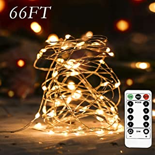 Homemory 66 FT LED String Light with Remote, Battery Operated Long Fairy Light with 200 LED Bulbs, 8 Modes Copper Wire Twinkle Lights, Indoor&Outdoor Waterproof, Warm White