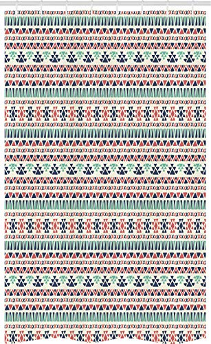 ABAKUHAUS Aztec Douchegordijn, Geometrische driehoek Stripe, voor Douchecabine Stoffen Badkamer Decoratie Set met Ophangringen, 120 x 180 cm, Veelkleurig