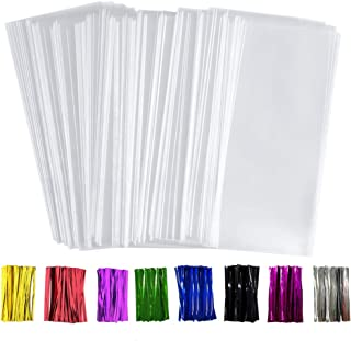 """Benail 300 Pack 4"""" x 9"""" Treat Bags Plastic OPP Bags with Gusset Bottom 1.4 mils Thickness Multi-purpose Coming With 300 Colorful Twist Ties"""