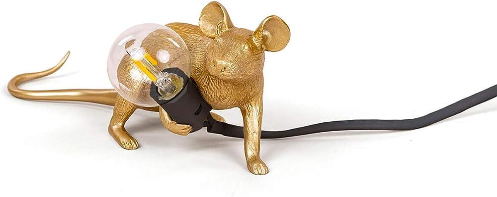 Seletti mouse lamp gold oro,lampada da tavolo a forma di topolino,in resina 15072