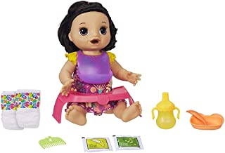 Baby Alive Happy Hungry Baby Black Straight Hair Doll, Makes 50+ Sounds & Phrases, Eats & Poops, Drinks & Wets, For Kids A...