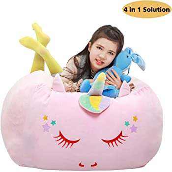 Unicorn Stuffed Animal Toy Storage Kids Bean Bag Chair Cover Large Size 24x24 Inch Velvet Extra Soft Stuffed Organization Replace Mesh Toy Hammock for Kids Blankets Towels Clothes Home Supplies Pink