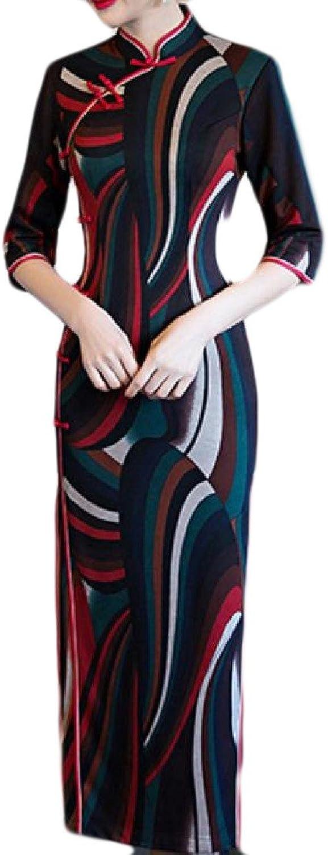 CrazyDayWomen CrazyDay Womens Stand Collar Splicing Chevron Side Slit Cheongsam Dress