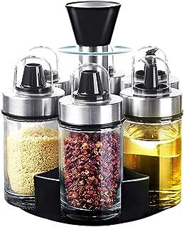 Mlici Oil and Vinegar Dispenser Set of 6 Bottles, Stainless Steel Salt and Pepper Holder with 360° Rotating Holder, Cruet ...