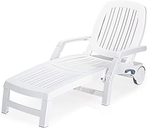 discount Giantex Chaise Lounge Outdoor 6 Adjustable new arrival Backrests Lounge Chair Recliner with Wheels for Patio, Poolside, Garden Foldable Beach Sunbathing Lounger(1, online White) online