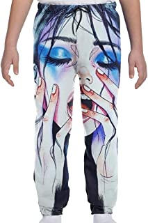 Yesbnow Adolescentes Niños Niñas Pantalones Deportivos Jogging Bottom Sports o Loungewear Trousers, Goth Gotik Gothic Mela...