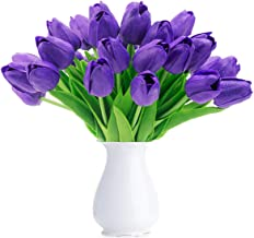 Bomarolan Artificial Tulip Fake Holland Mini Tulip Real Touch Flowers 24 Pcs for Wedding Decor DIY Home Party (Purple)