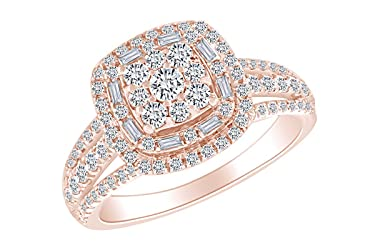 1 Carat (Cttw) Round & Baguette White Natural Diamond Cluster Engagement Wedding Ring In 14k Solid Gold