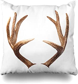 DIYCow Throw Pillow Cover Pillowcase Head Brown Deer Elk Antlers White Sport Moose Equipment Hunting Stag Cuckold Skull Home Decor Design Square Size 20